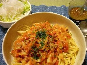 ジャガイモと豚肉のトマトクリームパスタ