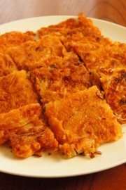 簡単でうまい韓国料理!キムチチヂミ。の写真