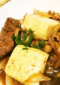 フライパンでめんつゆを使った肉豆腐