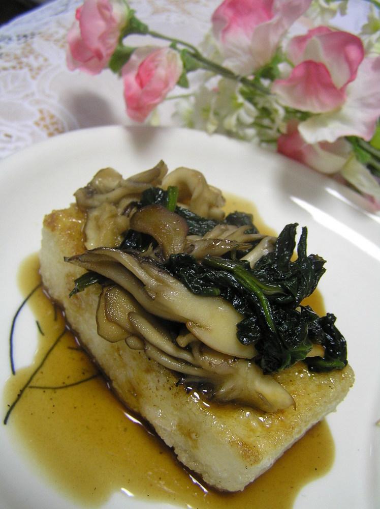 お豆腐ステーキ ✿ほうれん草&舞茸のバタポン✿