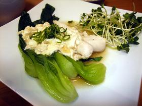 鶏のささみとチンゲン菜の卵白ソース