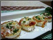 長芋のキムチ乗せチーズ焼きの写真