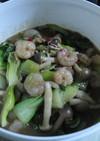 青梗菜とエビのピリ辛炒め
