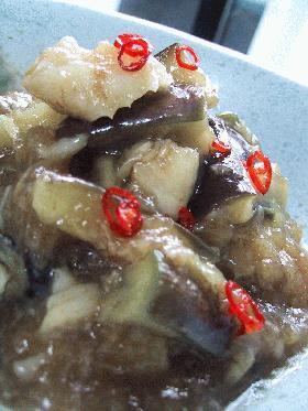 茄子と白身魚のピリ辛おろし餡。