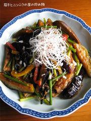 厚揚げ・茄子とニンニクの芽の甘辛味噌炒めの写真