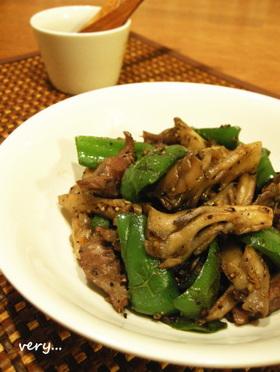 低カロ*砂肝と舞茸、ピーマンの黒胡椒炒め