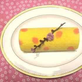 ひな祭り✿簡単!桃の花ロールケーキ✿