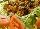 豚肉入りホットドレッシングのサラダ