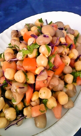 トルコの家庭料理☆豆のミックスサラダ