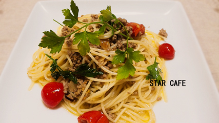 ひき肉と亜麻仁のペペロンチーノ