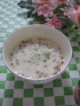 納豆とヨーグルトのポン酢スープ