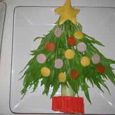 ☆水菜で☆クリスマスツリーサラダ