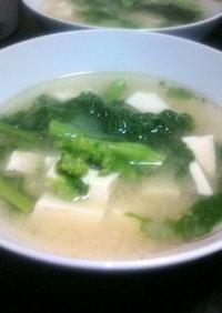 菜の花と絹豆腐のお味噌汁