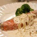 塩鮭のヨーグルトクリーム煮