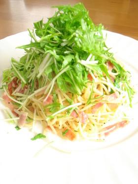 ベーコンと水菜のパスタ