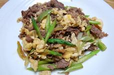 ケンタロウ風 アスパラと牛肉の卵炒め