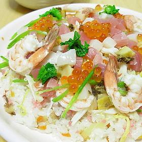 ちらし寿司の素を使った海鮮ちらし寿司