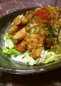 鶏肉と春キャベツの葱チリソース