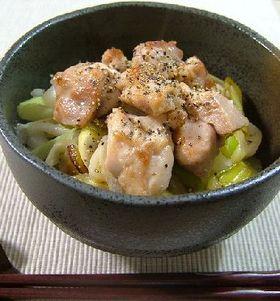 鶏もも肉と長葱のさっぱり丼