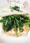 豆腐ステーキ 大根葉のソース