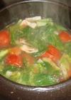 トマト・レタス・アスパラのお野菜スープ