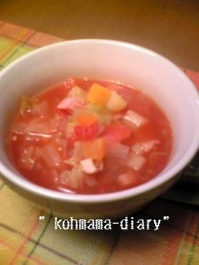 具だくさん!!食べるトマトスープ。