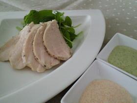 究極の柔らかさ♡茹で鶏~2種のソースで♡