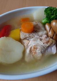 鶏ハムを作った残りでお手軽♪スープ