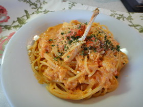 激うま♡ワタリガニのトマトクリームパスタ