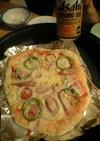 ホットプレートでピザ!