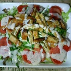 サクサク美味しい♪油揚げと水菜のサラダ