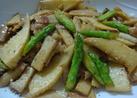❁筍とアスパラのガーリックバター醤油❁