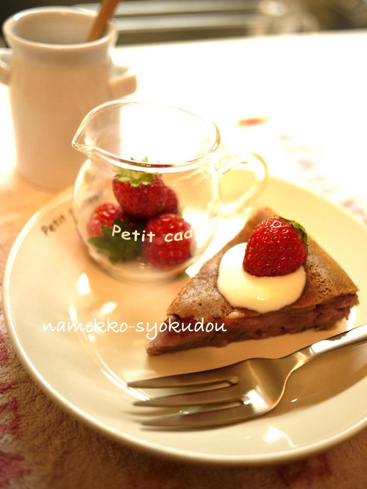 ●炊飯器で焼く☆もちもち食感の苺ケーキ●