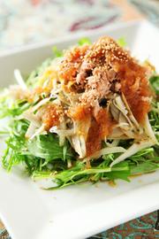 水菜ごぼうツナサラダ★ノンオイルドレの写真