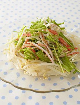水菜ともやし、かにかまのスゴだれサラダ