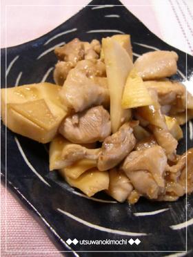 筍とやわらか鶏もも肉のピリ辛炒め~♪