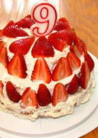 アメリカ お誕生日にイチゴの3段ケーキ