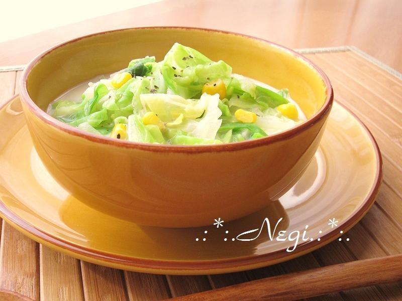∮春キャベツとコーンღ豆乳のお味噌汁∮