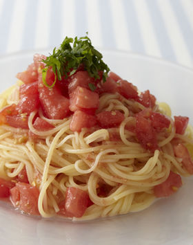 スゴだれで和風冷製トマトパスタ