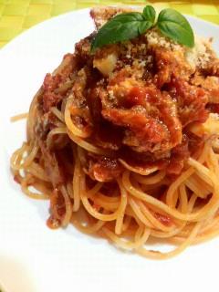 にんにくとツナのトマトソーススパゲティ