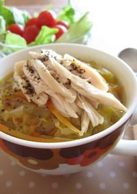 ささみとせん切り野菜のスープ