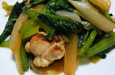 *鶏モモ肉と小松菜の塩炒め*