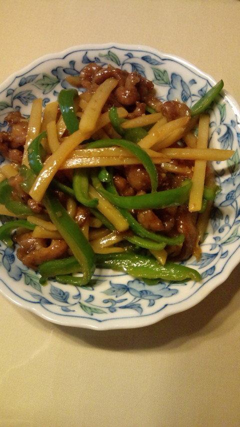 ジャガイモで青椒肉絲