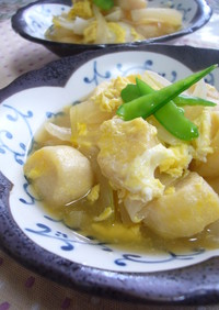 新玉葱と麩の卵とじ