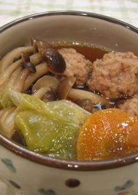 ひき肉団子とレタスのササっと煮