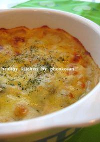 豆乳入り♪そら豆とエビのチーズ焼き♪