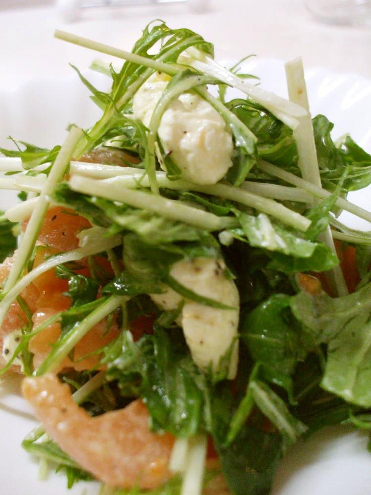 水菜とクリームチーズのサラダ