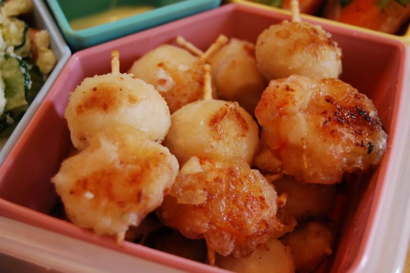 お弁当に♡海老とうずら卵のピンチョス