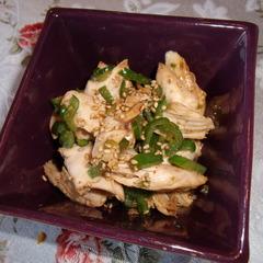 鶏のささ身とピーマンのゴマダレ炒め