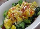 小松菜と卵のスイートチリソース和え